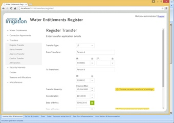 Tasmanian Irrigation - Water Entitlements Register